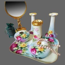 Limoges Bavaria Hand Painted Rose Dresser Vanity Set