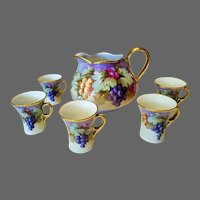 Limoges Hand Painted Large Grape Pitcher /4Cup Set