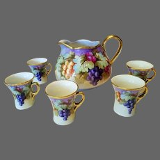 Limoges Hand Painted Large Grape Pitcher /5 Cup Set