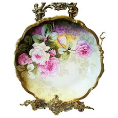 Limoges Hand Painted Rose Plaque Charger , Artist Signed