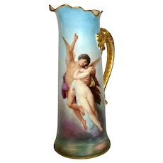 1890s Limoges Hand Painted Cupid And Psyche Tankard, French Artist signed