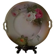Old Bavaria Hand Painted Rose Cake Plate, Artist Signed