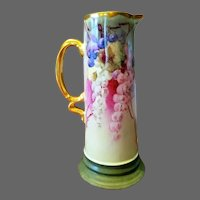 Limoges Bavaria Hand Painted Grape Tankard Pitcher