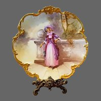 Limoges Hand Painted Scene Portrait Charger Plaque, Artist Signed