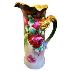 "Magnificent Limoges Hand Painted Rose  Pitcher Tankard, Artist Signed ""E. Donath"""