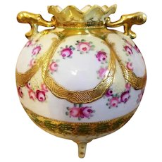 Nippon Hand Painted Rose Bulbous Vase