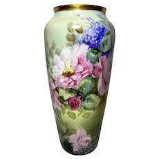 Magnificent Large  P.L Limoges Hand Painted Lilac Rose Vase, Artist Signed
