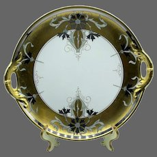 "Antique Haviland France Stouffer Art Nouveau Hand Painted Cake Plate, Artist Signed ""Isadore Bardos """