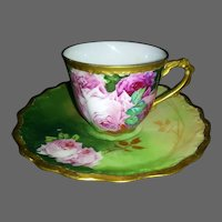 Limoges Hand Painted Rose Cup/ Saucer Set, Artist Signed