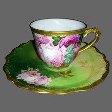 Limoges Hand Painted Rose Cup/ Saucer Set, Artist Signed