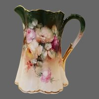 Antique Bell Pottery Findlay Hand Painted Rose Pitcher