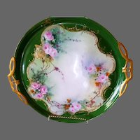 Large Limoges Hand Painted Jeweled Rose Platter Charger, Artist Signed