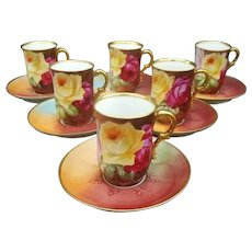 Limoges Hand Painted Rose Chocolate Cup Set For 6, GDA France, Chateau des Tuileries