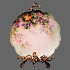 Large Limoges Hand Painted Black Berry  Centerpiece Plaque Charger, Artist Signed