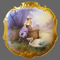 """Limoges Hand Painted Scene Plaque Charger, Listed Artist Signed """"Dubois"""""""