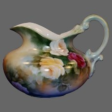 Limoges Hand Painted Water Pitcher, Artist Signed