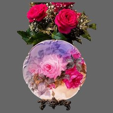 Limoges Hand Painted Rose Plaque Plate , Stunning Masterpiece