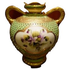 Nippon Hand Painted Jeweled Violet Bulbous Vase