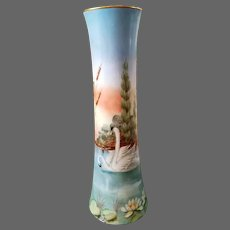 "14"" Antique Austria Hand Painted Swan Trumpet Vase, Artist Signed"