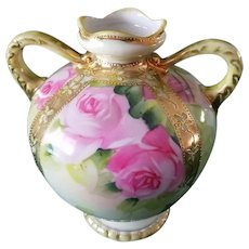 Nippon Hand Painted Bulbous Rose Vase