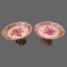 Large Pair Carl Thieme Dresden Hand Painted Floral & Gold Reticulated Compote