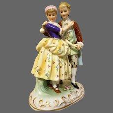 Large Vintage German Hand Painted Porcelain Figurine