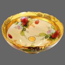 Limoges Julius H. Brauer Studio Hand Painted Raspberry Centerpiece Bowl, Artist Signed