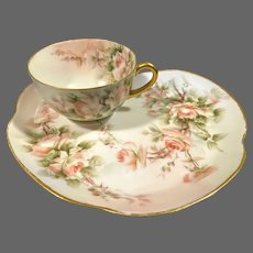 Limoges Hand Painted Rose Cup/ Tray  Snack Set, Listed Artist Signed E.Miler (E.Thomas)