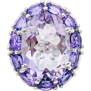 925 Sterling Silver Amethyst Ring,Sz7