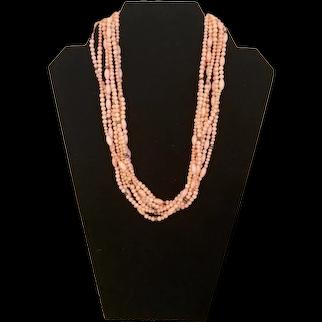 925 Sterling Silver Vintage  Natural Angel Skin Coral Bead Necklace, 85.048 gr.