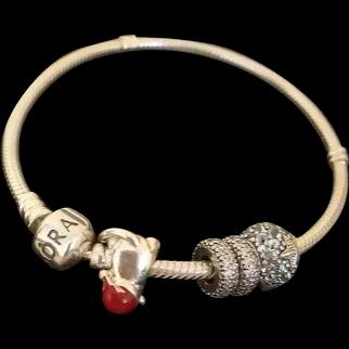 Pandora Sterling Silver Charm Red Coral Bead Bangle Bracelet