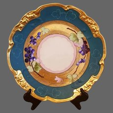 """Limoges White's Studio Hand Painted Grape Charger, Listed Artist Signed, """"BEN"""""""