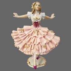 Dresden Lace Sitzendorf  Ballerina Figure Figurine