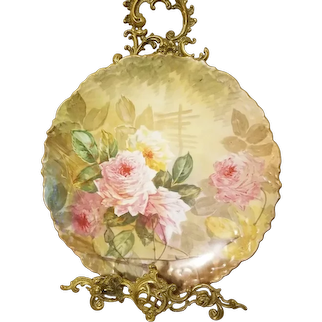 """Limoges Hand Painted Rose Charger Wall Plaque, Listed Artist Signed """"Dubois"""""""