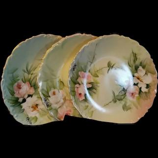 """Limoges Hand Painted Rose Plate Set , Artist Signed """"E. Miler"""""""