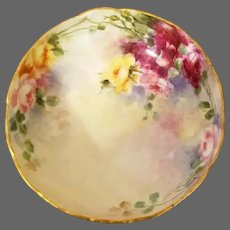 Limoges Hand Painted Rose Footed Bowl Dish