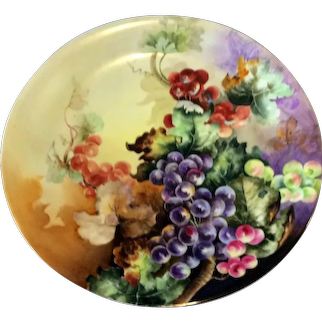 """14"""" Limoges Hand Painted Grape Wall Plaque Charger  Ca Early 1900's"""
