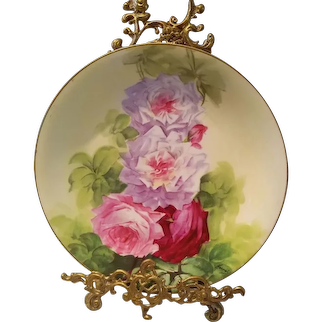 Large Limoges Hand Painted Rose Plaque Charger, French Artist Signed