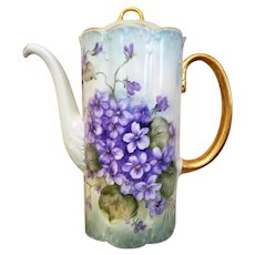 Large Rosenthal Germany Hand Painted Violet Tea Coffee Chocolate Pot, Artist Signed