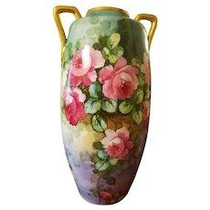 """Huge 18 1/2"""" Antique Austrian Hand Painted Handled  Rose Vase ,Artist Signed"""