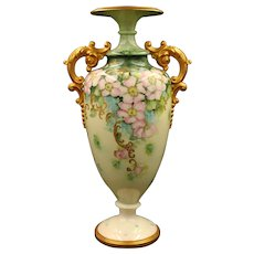 19th Century American Belleek Hand Painted Rose Vase, Artist Signed and Dated