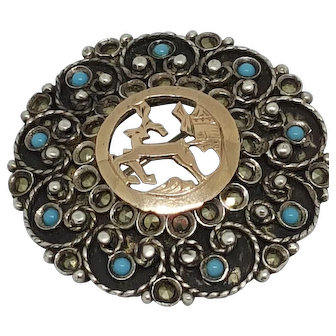 Marcasite on silver 800 and Turquoise Stag Brooch Pin