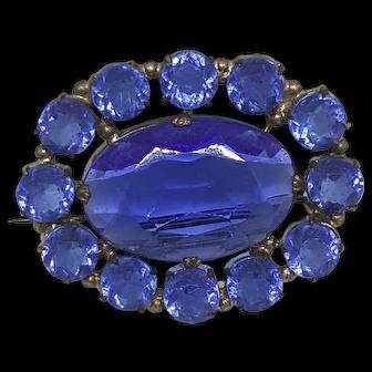 19th Century Georgian Blue Paste Brooch/pin