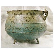 Early American blue tole painted hearth pot c. 1800
