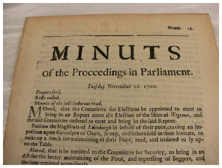 scottish document dated 1700 minuts of the proceedings in parliament