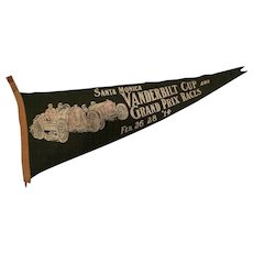 Collector pennant from 1914 Vanderbilt Cup and Grand Prix Santa Monica