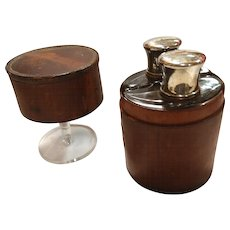 Traveling Flask Set in Leather Case C. 1900