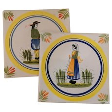 Pair of Signed Quimper Tiles