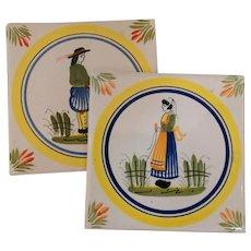 Pair of Signed Quimper Tiles