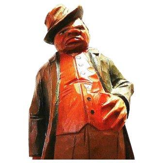 Folk Art Carving of African American Man